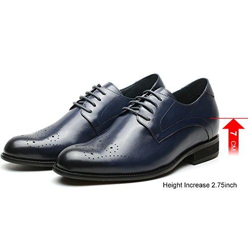 Fino Commerciali con H81D37K025D cm Stringate Blu Uomo Scarpe CHAMARIPA a Eleganti 7 Rialzo Affari Derby zw8qxT