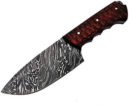 Hunting Knife Damascus Handmade 8 50 Inches Steel Blade with Hard Wood Fire Pattern Handle