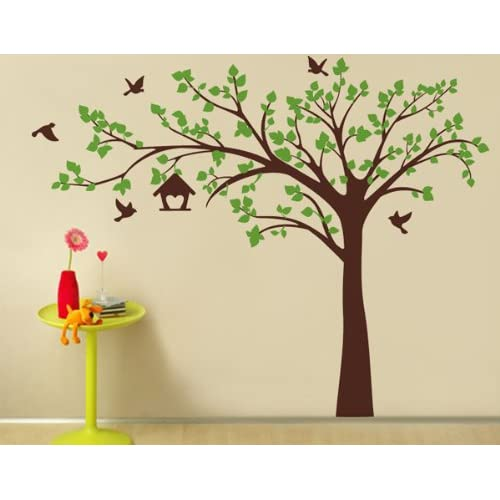 Peacock and Apple Trees Pop Decors Removable Vinyl Art Wall Decals Mural for Nursery Room