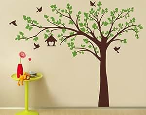 "PopDecors - Big tree with love birds(100"" W) - Custom Beautiful Tree Wall Decals for Kids Rooms Teen Girls Boys Wallpaper Murals Sticker Wall Stickers Nursery Decor Nursery Decals"