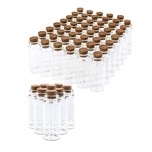Present Avenue 24 Small Mini Glass Jars with Cork Stoppers Size 1-1//2 Tall X 3//4 Inches Diameter