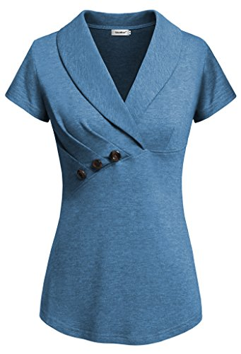 Sixother Women's Tops for Office, Womans Royal Blue Blouses Summer V Neck Tops Short Sleeve Work Shirts Leightweight Comfortable Woman's Blouse Tops for Work Blue M