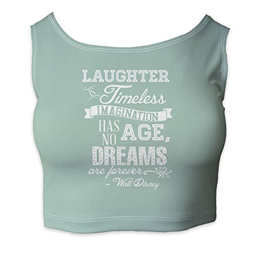 Laughter is Timeless Walt Disney Quote Mint - 2XL - Ladies Crop Top XS - 3XL
