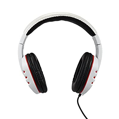 Audio Council Onyx Stereo DJ Style Over-Ear Headphones (White/Red)
