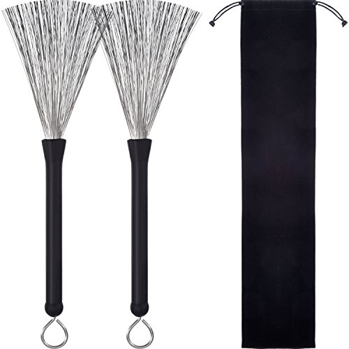 Pangda 1 Pair Drum Brushes Retractable Wire Brushes Drums Drum Sticks Brush with Comfortable Rubber Handles (Rubber Drumsticks)