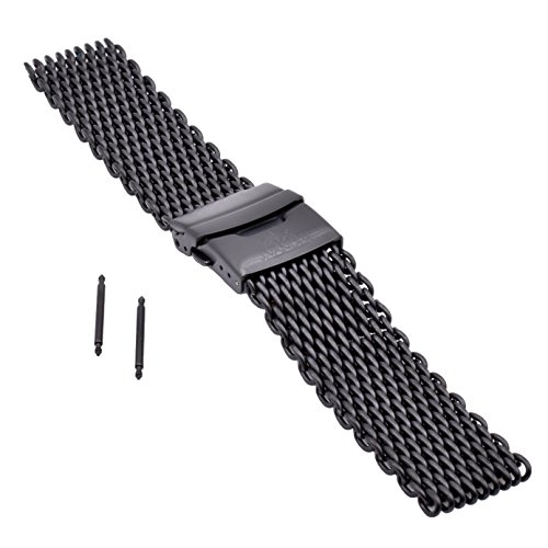 J.VANDER V.2 Milanese 316L Stainless Steel Shark Mesh Dive Watch Band Strap - Premium Clasp (20mm, Satin PVD Black)