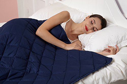 Weighted Blanket 2.0 by Hypnoser for Child and Adults,Navy Blue,48''x72''-20 lbs for 100-150 lbs,Providing Calm and Comforting Sleep, Great for Anxiety,Insomnia, ADHD, Autism, OCD and SPD by Hypnoser