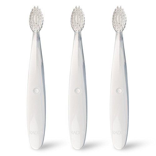 Baby Soft Toothbrush - RADIUS - Pure Baby Toothbrush, Designed for Delicate Teeth and Gums, For Children 6 to 18 Months Old (Pack of 3)