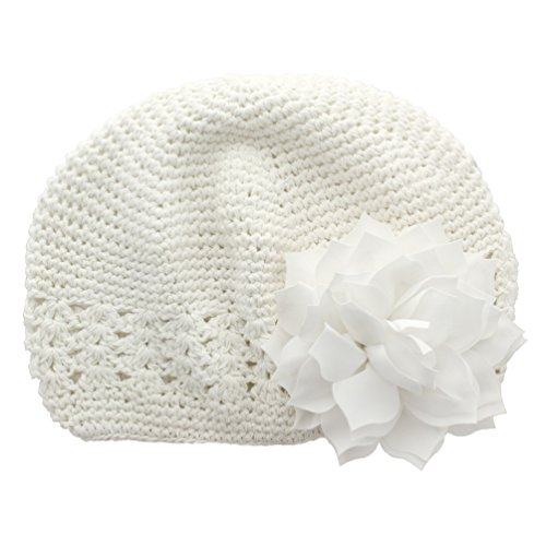 My Lello Little Girl's Crochet Beanie Hat with Flower One Size White/White