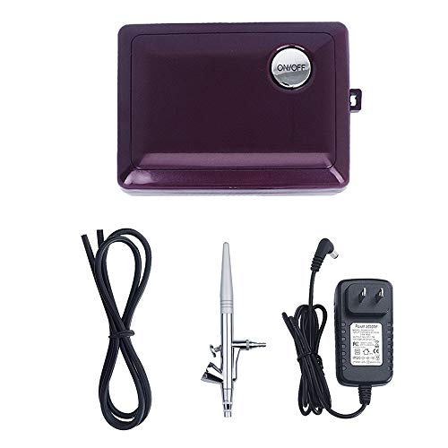 Airbrush Makeup Kit,Fy-light Cosmetic Makeup Airbrush Compressor With 0.4mm Needle Airbrush Spray Gun for Face, Nail, Temporary Tattoos, Cake Decorating,Modeling (Purple)
