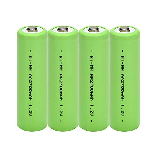 Fan-Ling 4PCS Rechargeable Lithium Battery AA Cylindrical Battery,5700AMH Service Capacity,1.2V Battery Voltage, Green Color