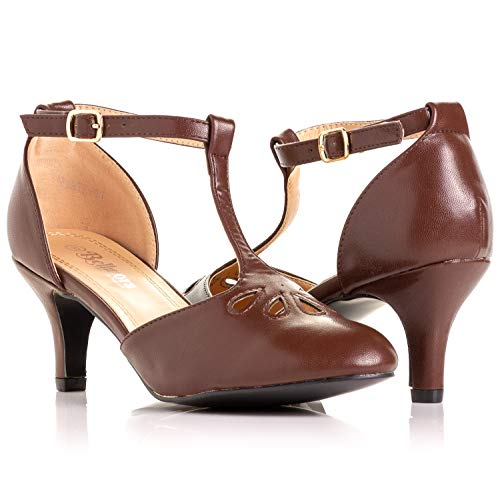 (Bellmora Women's Vintage Round Toe T-Strap Mary Jane Costume Dress High Heel Swing Shoe with Sexy 3