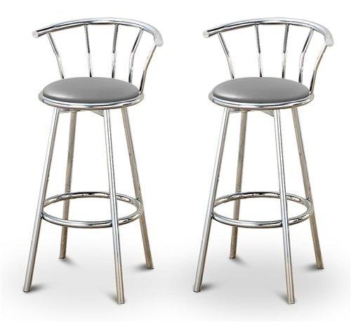 (2 Gray Vinyl Specialty / Custom Chrome Barstools with Backrest Set)