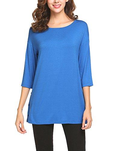 Sleeve Split Neck Tunic (Yhlovg Women 3/4 Sleeve Loose Button Trim Blouse Round Neck Tunic T-Shirt Top)