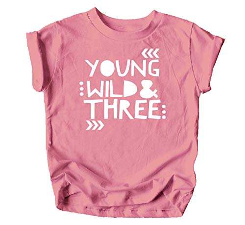 Young Wild and Three Girls 3rd Birthday Shirt for Toddler Girls Third Birthday Outfit Mauve Shirt]()
