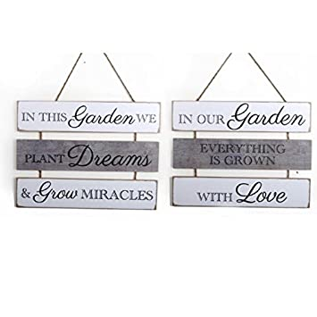 The Home Fusion Company Hanging Large Wooden Garden Quotes Plaque