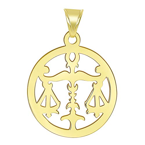 14k Yellow Gold Dainty Round Libra Zodiac Sign Scale Disc Pendant