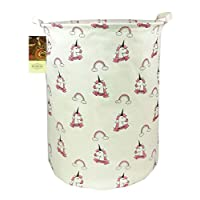 HUNRUNG Large Canvas Fabric Lightweight Storage Basket Toy Organizer Dirty Clothes Collapsible Waterproof for College Dorms, Kids Bedroom,Bathroom,Laundry Hamper