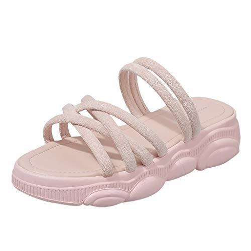 (Sandals for Women 2019 Summer Open Toe Slippers Classic Criss Cross Thick Bottom Shoes (US:8, Pink))