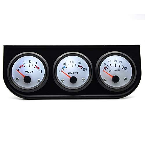 Carvicto - Water Temp Celsius/Fahrenheit Oil Pressure PSI/KG Volt Gauge 52mm 3 in 1 Triple Gauge Kit Black Bezel White Face With Sensor