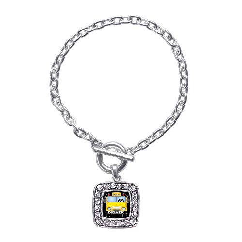 Inspired Silver - School Bus Toggle Charm Bracelet for Women - Silver Square Charm Toggle Bracelet with Cubic Zirconia Jewelry