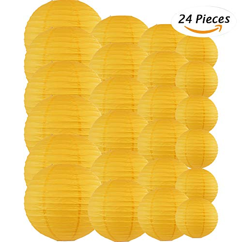 Just Artifacts Decorative Round Chinese Paper Lanterns 24pcs Assorted Sizes (Color: Pineapple Yellow) by Just Artifacts (Image #3)