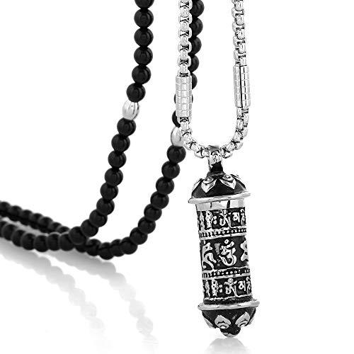 (BLEUM CADE Tibetan Buddhist Six True Syllable Mantra Sanskrit Pendant Necklace with Black Agate Necklace 27 inch Chain)