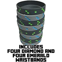 Miner Style Pixel Wristbands (Set of 8) - 4 Diamond and 4 Emerald - Light Gray with Blue and Dark Gray with Green - One Size Fits Most - Silicone Bracelets