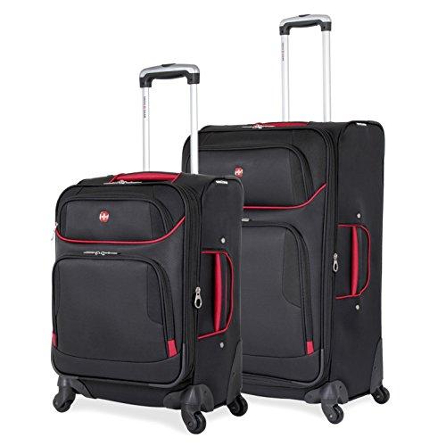 SwissGear 2 PC Expandable Spinner Wheel Black Suitcase Set - Softshell & Lightweight by SwissGear