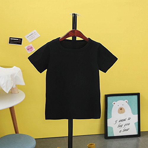 Kids Cheap T Shirts,Boys Solid Candy Color Tee Tops Little Girls T Shirts Pajama Shirts.(Black,120) by Wesracia (Image #3)
