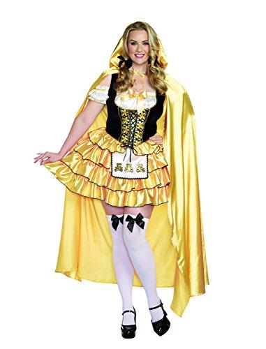 Dreamgirl Women's Plus-Size Goldilocks Fairytale Costume, Gold/Black, 3X/4X