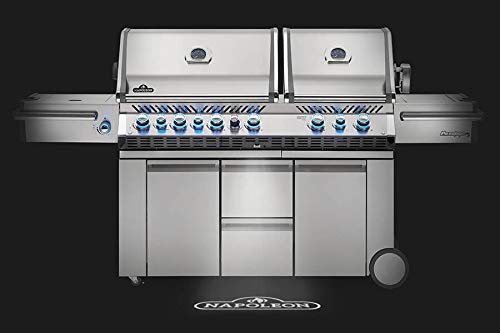 Napoleon PRO825RSBIPSS-3 Rear & Bottom Prestige PRO 825 Propane Gas Grill with Power Side Burner and Infrare, Stainless Steel