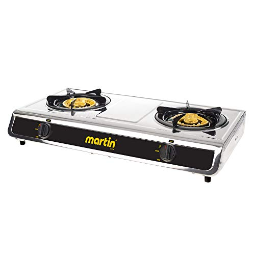 MARTIN SG-228 Propane Hot Plate Cooking Stove - Double Cooktop 25,600 BTU Powered Brass Burner with Pressure Regulator