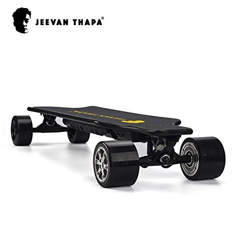Jeevan Thapa   2nd Generation Upgraded Electronic Skateboard  Boosted Power Longboard Perfect for Travel & Daily Commute Speed 43 km/h Max 130kg Hill Grade 25% Dual Brushless Hub Motor By - Chico's Policy Return