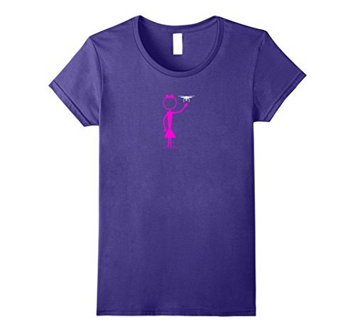 Girl Drone T-Shirt Large Purple (Stick Figure Girl)