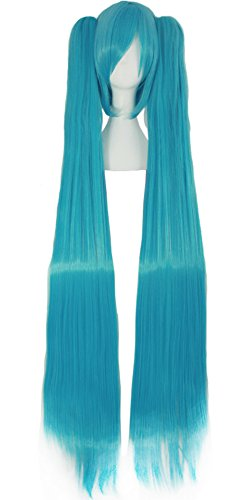 MapofBeauty Vocaloid Miku Blue 2 Ponytails Straight Long Party Costume 120cm Cosplay Wigs]()