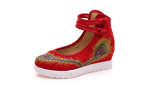 femminili amp;QING scarpe new moda LTQ casual aumento etnico scarpe comodo tendine del ricamate biancheria red suola stile 7qHRHdx