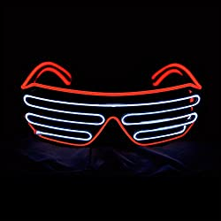 Red + White Shutter El Wire Flashing LED Sunglasses
