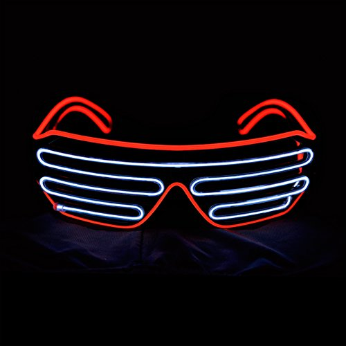 Aquat Light Up Shutter LED Neon Rave Glasses El Wire DJ Flashing Sunglasses Glow Costumes Voice Activated For 80s, EDM, Party (Red/White, Black Frame)]()