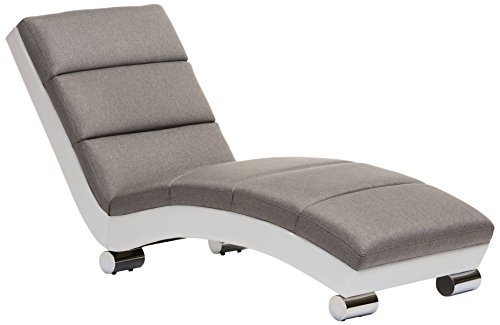 Baxton Studio Percy Modern Contemporary Grey Fabric and White Faux Leather Upholstered Chaise Lounge, Medium