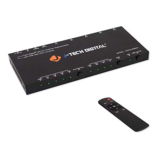 J-Tech Digital HDMI Audio Extractor Switcher 4x1 HDMI 2.0 4K@60Hz with 18Gbps, HDCP 2.2, HDR10, Analog/Digital Audio Output, Supporting CEC, ARC, with IR Remote and auto-Switching ()