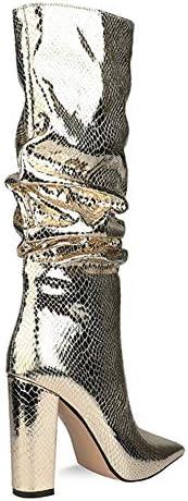YQSHOES Mode Plissierte Damenstiefel, Kniehohe Damenstiefel Für Damen, Nachtclub Für Tanzpartys,Gold,38EU/7.5US/5.5UK