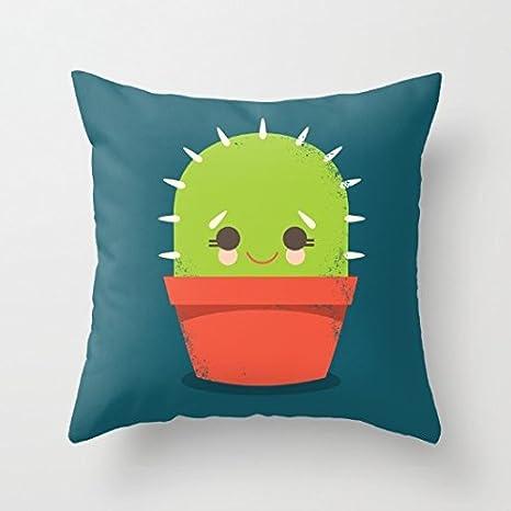 Amazon.com: Cute kawaii Cactus Dude lona fundas de almohada ...
