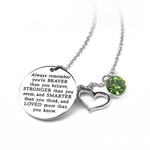 Zaoming You Are Braver Than You Believe Inspirational Necklace With Birthstone Graduation Gift Best Friend Encouragement Gifts Birthday Gift (08-August ()