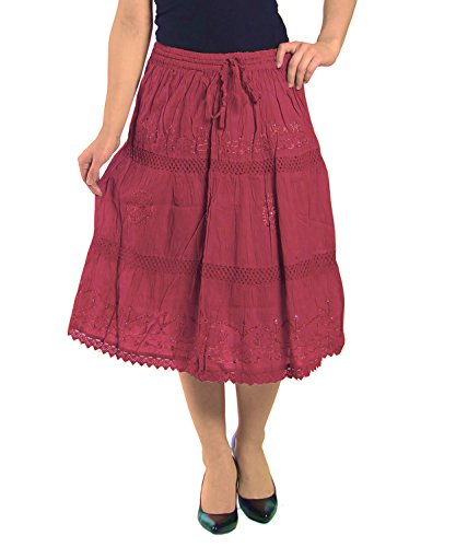KayJay Styles Solid Color Bohemian Hippie Belly Gypsy Short Cotton Mid Length Skirt (Maroon) One Size