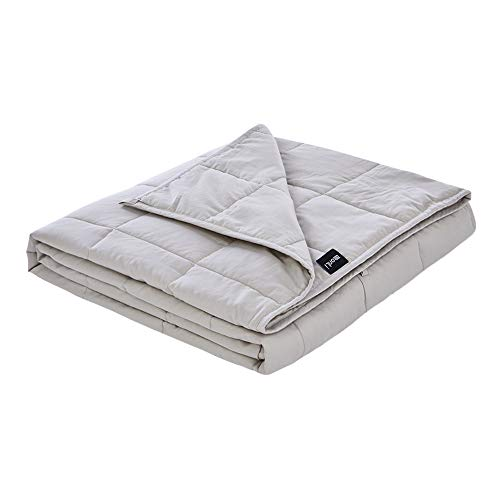 (ZonLi Cotton Weighted Blanket Summer (25lbs for 220-280lbs, 60''x80'', Light Grey) for Adults Women, Men, Youths | Premium Cotton with Glass Beads)