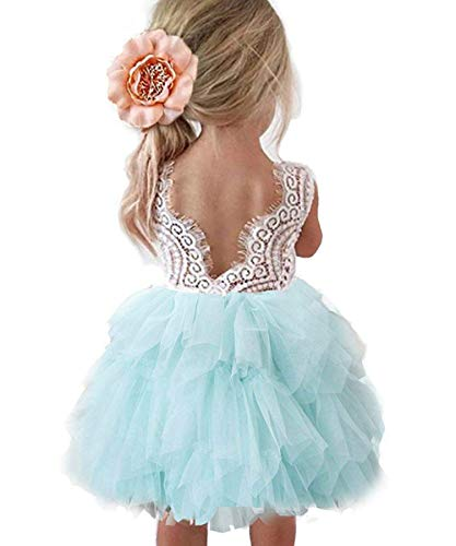 Baby Toddle Girls Tutu Dress Short Sleeves&Sleeveless Stripe Tulle Skirts A-line Dress (White Green Mint, 12-18 Months)