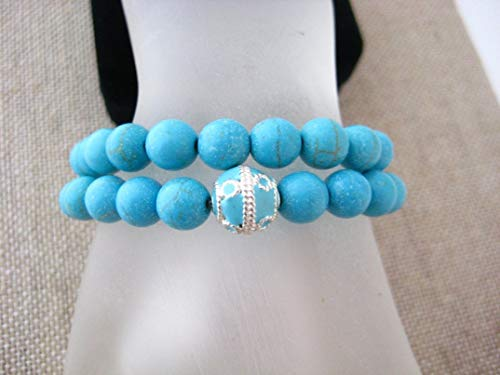 Turquoise Magnesite Stretch Yoga Bracelet Set Enameled