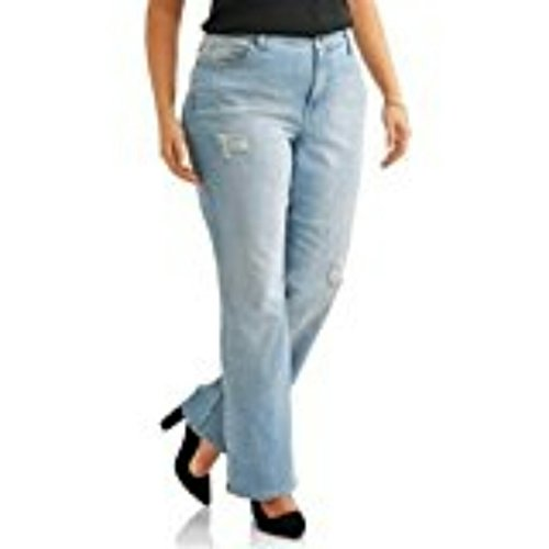 Faded Glory Women's Plus Destructed Bootcut Jean Light Wash Denim (22W) Destructed Bootcut Jeans