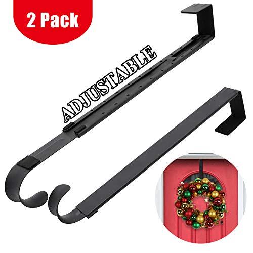HEYHOUSE Pack of 2 Wreath Hanger,Adjustable Wreath Hanger for Front Door from 14.9-25 Inch,20 lbs Larger Door Wreath Hanger Christmas ()